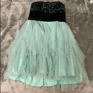 Strapless homecoming prom dress black and teal